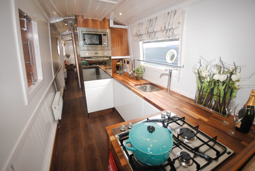 Narrowboat for sale bespoke narrowboat boat builders canal time narrowboats for hire Ship galley kitchen design